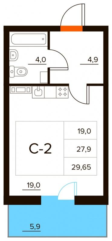Планировка Студия площадью 29.65 кв.м в ЖК «