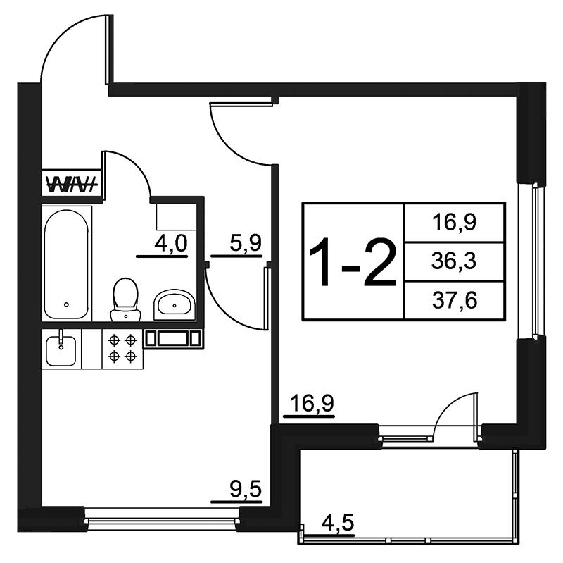 Планировка Однокомнатная квартира площадью 37.6 кв.м в ЖК «84 Высота»