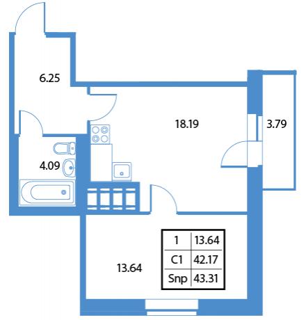 Планировка Однокомнатная квартира площадью 38.45 кв.м в ЖК «84 Высота»