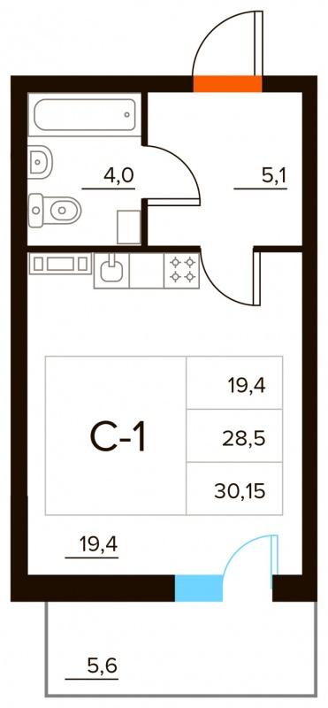 Планировка Студия площадью 30.15 кв.м в ЖК «