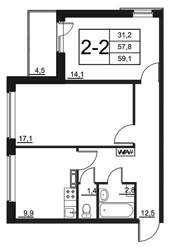 Планировка Двухкомнатная квартира площадью 59.1 кв.м в ЖК «84 Высота»