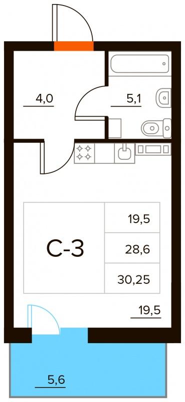 Планировка Студия площадью 30.25 кв.м в ЖК «