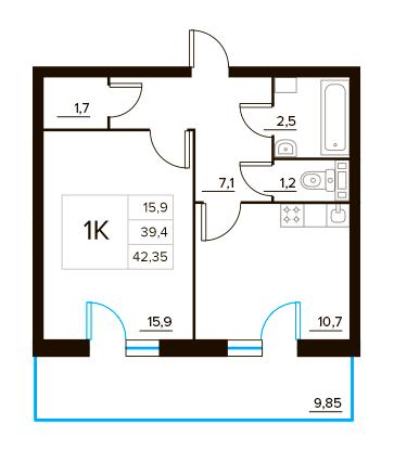 Планировка Однокомнатная квартира площадью 42.35 кв.м в ЖК «