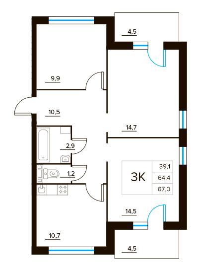 Планировка Трёхкомнатная квартира площадью 67 кв.м в ЖК «