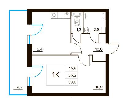 Планировка Однокомнатная квартира площадью 39 кв.м в ЖК «