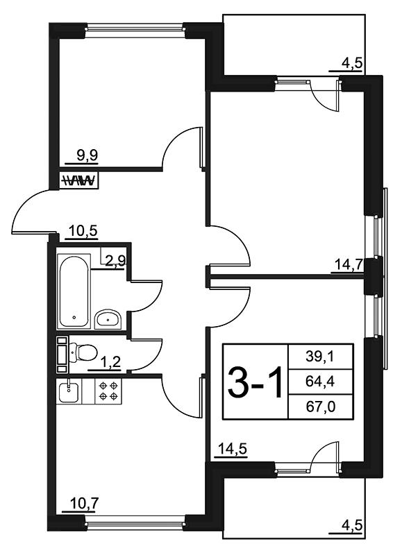 Планировка Трёхкомнатная квартира площадью 67 кв.м в ЖК «84 Высота»