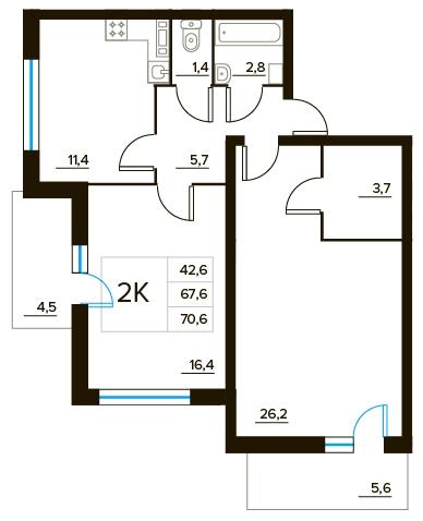 Планировка Трёхкомнатная квартира площадью 70.6 кв.м в ЖК «