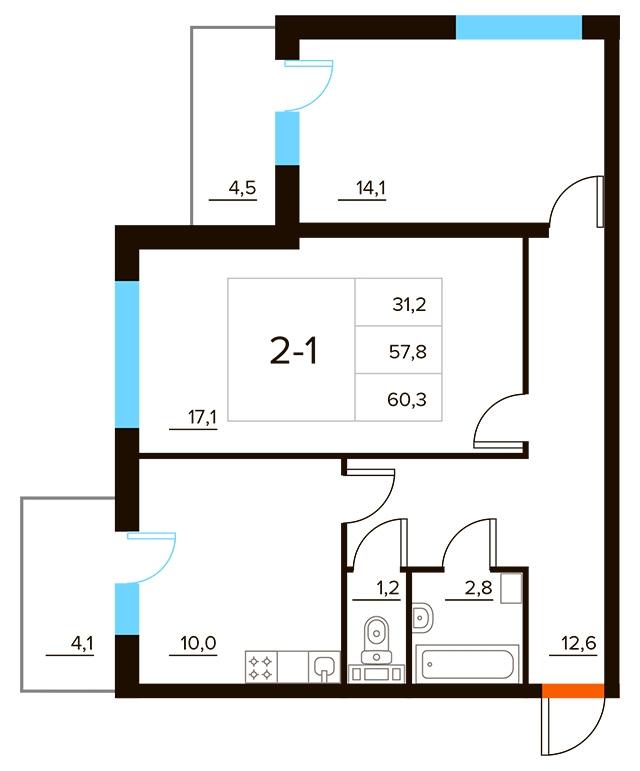 Планировка Двухкомнатная квартира площадью 60.3 кв.м в ЖК «