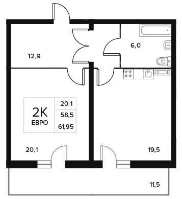 Планировка Двухкомнатная квартира (Евро) площадью 61.95 кв.м в ЖК «84 Высота»
